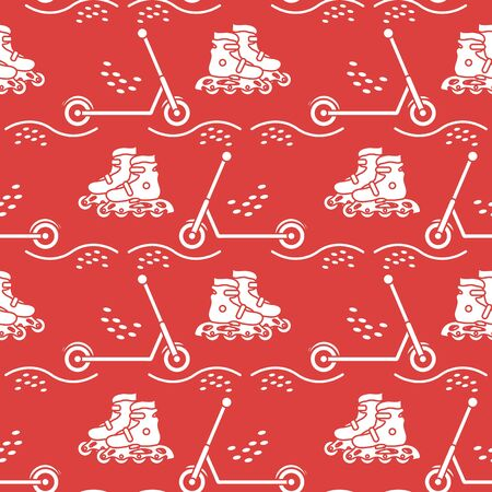 Vector seamless pattern with rollers, kick scooter. Athletic, healthy lifestyle for every person. Family vacation. Sports background. Design for packaging paper, fabric, print. 일러스트