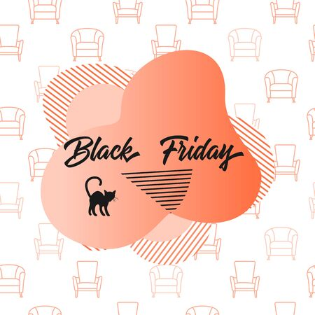 Seamless pattern with armchair and inscription Black Friday. Sale background. Price reduction advert. Purchase. Discount promo layout. Advertising. Design for website, presentation, poster, print