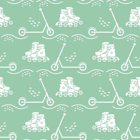 Vector seamless pattern with rollers, kick scooter. Athletic, healthy lifestyle for every person. Family vacation. Sports background. Design for packaging paper, fabric, print. 向量圖像