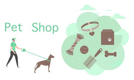 Vector illustration Male walking with dog on leash Pet Shop Pet care accessory Food, collar, bone, comb, toy Design element for website, banner, landing page, poster, print