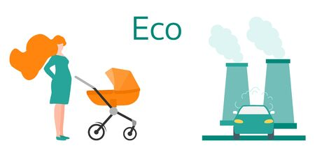 Vector illustration with baby stroller, pregnant woman and factory, car emits smog exhaust Air Environmental pollution Ecology concept Smoke pollutant, damage, contamination, combustion products
