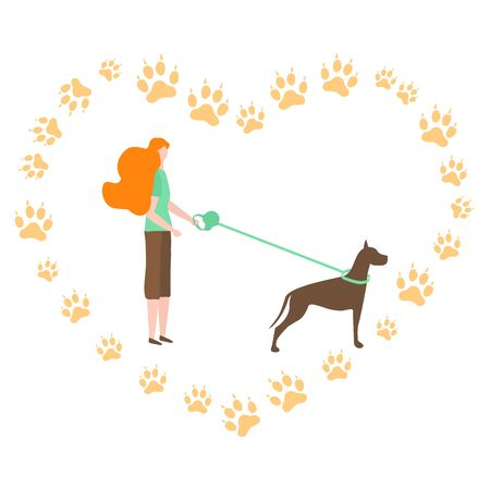 Vector illustration with people walk with dog on a leash, canine tracks in the shape of heart on white background. Healthy active lifestyle. Professional dog walking. Design for web, app, print Фото со стока - 133641128