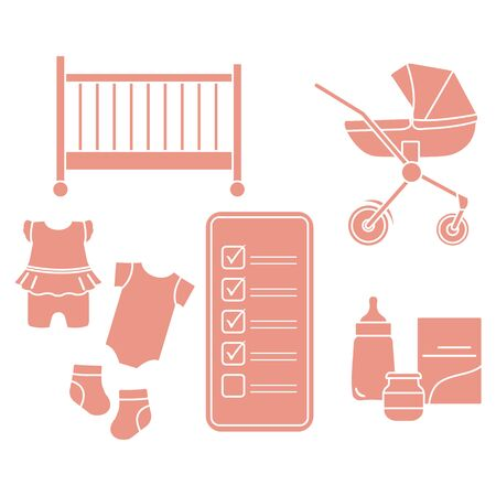 Vector illustration with smartphone with checklist, newborn baby accessories. Pram, crib, bottle, baby food can, socks, bodysuits. Online shopping.