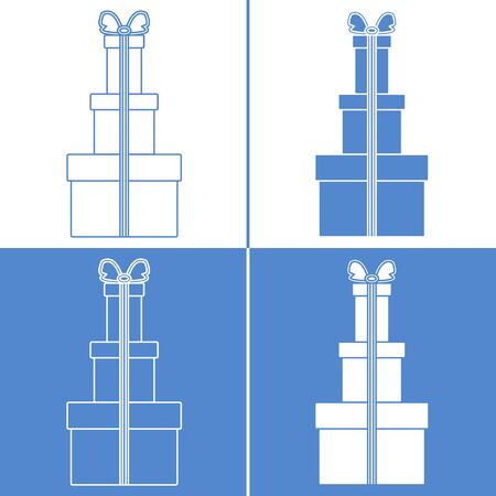 Vector illustration with gift boxes. Happy new year 2020, Merry Christmas, Valentines day, birthday, Mothers day, Fathers day, boxing day. Shopping, sale. Illustration