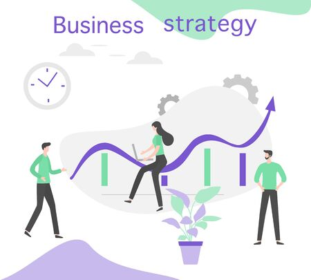 Vector illustration People Development Business strategy, profit growth planning, financial increase Research, statistics, marketing, study performance indicators, optimization, data analysis concept Çizim