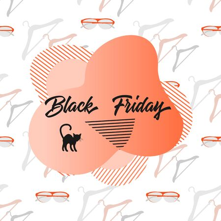 Seamless pattern with hangers, glasses and inscription Black Friday. Sale background. Price reduction advert. Purchase Discount promo layout Advertising Design for website, presentation, poster, print