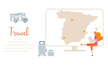 Vector illustration. People traveling on vacation, explore route using device. Travel inscription, computer, navigation app with map and location pin, suitcases, trailer. Design for web page, print.