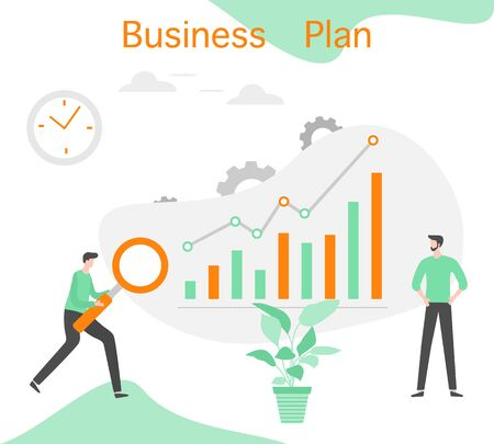Vector illustration Profit growth planning, financial increase, development People Research, strategy selection, statistics, planning, marketing, study of performance indicators Business plan concept