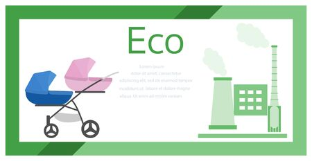 Vector illustration with baby stroller, factory pipes emitting smoke. Air Environmental pollution concept. Ecology Industrial smog, contamination, combustion products. Protecting childrens health