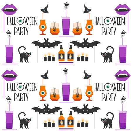 Halloween party 2020 Vector illustration inscription Halloween party, glass, bottle, spider, skull, bat, vampire mouth mask, witch hat, cat, candles, eye Festive background Design party card, print