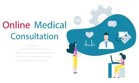 Vector illustration with people, online doctor, heart, cardiogram, pressure measuring device  Online Medical supervision monitoring services Flat style Design for website, app, banner, poster, print