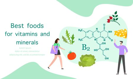 Vector illustration with people, healthy foods rich in vitamins. Healthy lifestyle, proper nutrition,  diet concept. Vitamin B2 sources. Design for app, websites, print, presentation, landing page. Çizim