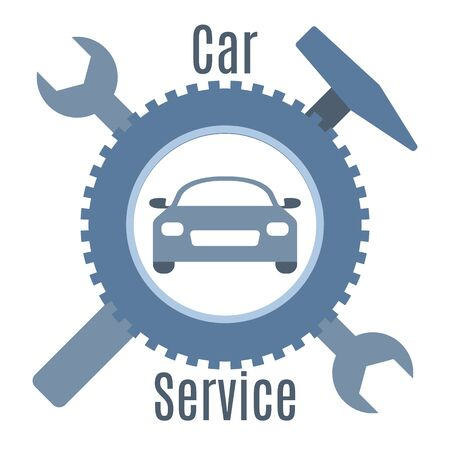 Car service vector illustration concept. Car, wheel, repair tools, sign. Auto diagnostics center, automobile maintenance station. Tire service, sale of spare parts, repair. Design for web, app, print
