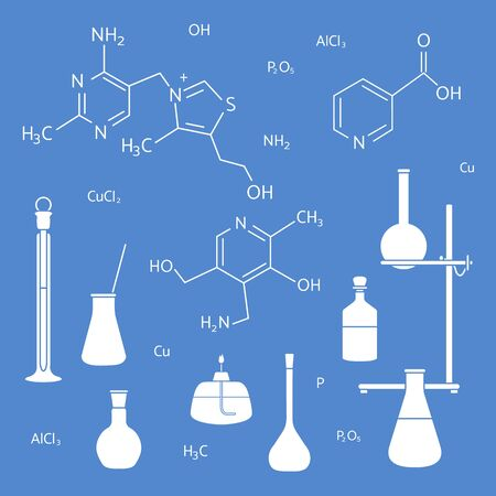 Vector illustration with glassware flasks, burner, equipment stand, chemical formulas. Laboratory equipment. Education. Science day. Chemistry, biology, medicine, pharmacy, experiment.