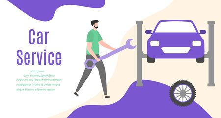 Car service vector illustration concept. Car, man, wheel, repair tools. Auto diagnostics center, automobile maintenance station. Tire service, sale of spare parts, repair. Design for web, app, print Çizim
