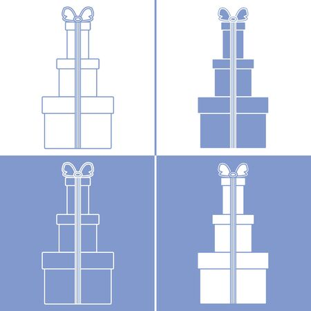 Vector illustration with gift boxes. Happy new year 2020, Merry Christmas, Valentines day, birthday, Mothers day, Fathers day, boxing day. Shopping, sale. Çizim