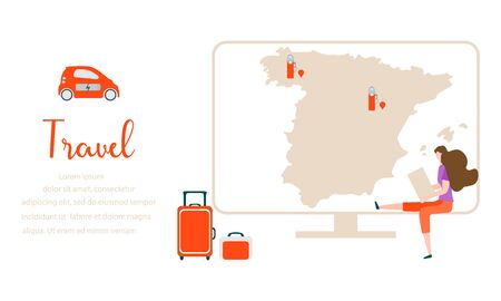 Vector illustration. People traveling on vacation, explore route using device. Travel inscription, computer, navigation app with map, location charging station, suitcases, electric car. Çizim