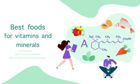 Vector illustration with people, healthy foods rich in vitamins. Healthy lifestyle, proper nutrition,  diet concept. Vitamin A sources. Design for app, websites, print, presentation, landing page. Çizim