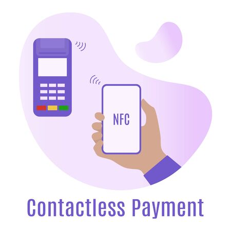 Vector illustration Hand of customer using terminal for wireless or contactless payment with smartphone. Contactless payment concept. Accept payment by nfc technology. Design for banner, poster, print