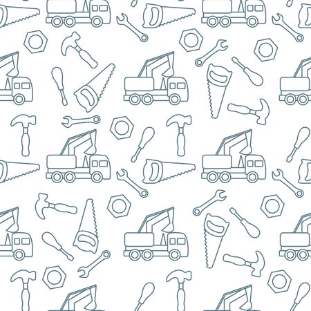 Vector seamless pattern with kid toys. Excavator, toy tools, saw, hammer, wrench, screwdriver, nut. Primary school, elementary grade, kindergarten. Happy childhood activity. Design for textile, print.