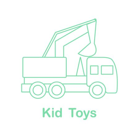 Vector illustration dump truck. Kid toys. Toy construction machinery. Primary school, elementary grade, kindergarten. Happy childhood activity. Design for game, website, textile, print.