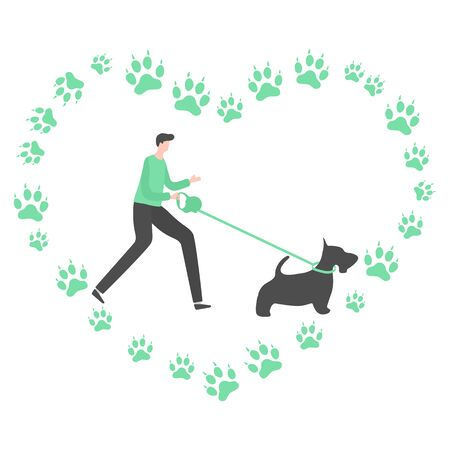 Vector illustration with people walk with dog on a leash, canine tracks in the shape of heart on white background. Healthy active lifestyle. Professional dog walking. Design for web, app, print