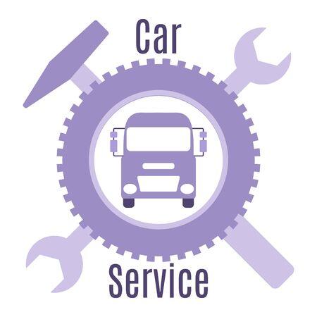 Car service vector illustration concept. Car, wheel, repair tools, sign. Auto diagnostics center, automobile maintenance station. Tire service, sale of spare parts, repair. Design for web, app, print