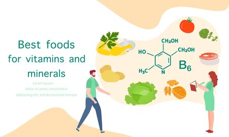 Vector illustration with people, healthy foods rich in vitamins. Healthy lifestyle, proper nutrition,  diet concept. Vitamin B6 sources. Design for app, websites, print, presentation, landing page.