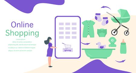 Vector illustration Pregnant woman makes purchases in online store Phone, stroller, bath, bottle, baby monitor, diaper, socks, toy, bodysuit Newborn baby accessories Online shopping Technology concept