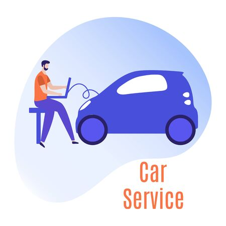 Car service vector illustration concept. Car, man, wheel, repair tools. Auto diagnostics center, automobile maintenance station. Tire service, sale of spare parts, repair. Design for web, app, print Ilustração