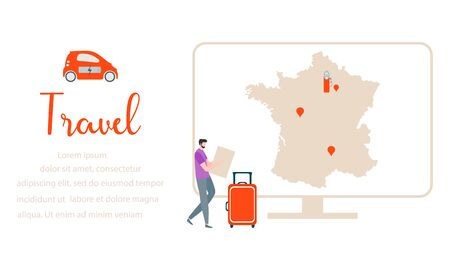 Vector illustration. People traveling on vacation, explore route using device. Travel inscription, computer, navigation app with map, location charging station, suitcases, electric car. Иллюстрация