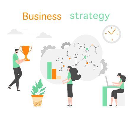 Vector illustration People Development Business strategy, profit growth planning, financial increase Research, statistics, marketing, study performance indicators, optimization, data analysis concept 일러스트