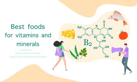Vector illustration with people, healthy foods rich in vitamins. Healthy lifestyle, proper nutrition,  diet concept. Vitamin B2 sources. Design for app, websites, print, presentation, landing page. 일러스트