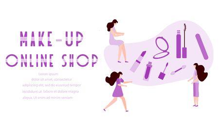 Vector illustration with girls, make-up online shop inscription, mirror, lipstick, mascara, nail file. Decorative cosmetics. Online shopping concept. Beauty Fashion style. Woman stuff, makeup Ilustração