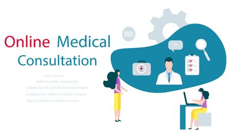 Vector illustration People, online doctor, list of medical appointments, first aid kit, magnifier Online Medical supervision monitoring services Flat style Design for website, app, banner poster print