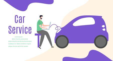 Car service vector illustration concept. Car, man, wheel, repair tools. Auto diagnostics center, automobile maintenance station. Tire service, sale of spare parts, repair. Design for web, app, print Stock Illustratie