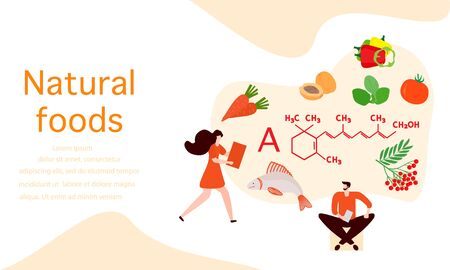 Vector illustration with people, healthy foods rich in vitamins. Healthy lifestyle, proper nutrition,  diet concept. Vitamin A sources. Design for app, websites, print, presentation, landing page. 일러스트