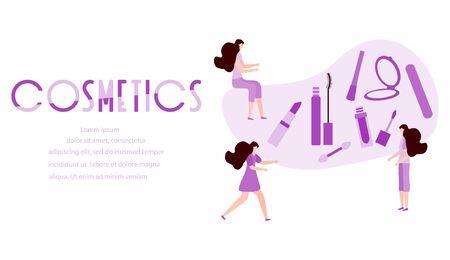 Vector illustration with girls, cosmetics inscription, mirror, lipstick, mascara, nail file Beauty cosmetic salon Woman stuff, makeup Decorative cosmetics Girls accessory concept Glamour fashion style Illusztráció