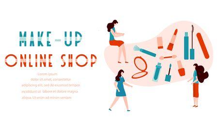 Vector illustration Girls, make-up online shop inscription, mirror, lipstick, mascara, nail file, polish, brush Decorative cosmetics Online shopping concept Beauty Fashion style Woman stuff makeup