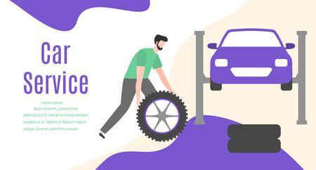 Car service vector illustration concept. Car, man, wheel, repair tools. Auto diagnostics center, automobile maintenance station. Tire service, sale of spare parts, repair. Design for web, app, print