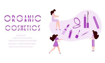 Vector illustration with girls, organic cosmetics inscription, mirror, lipstick, mascara, nail file Beauty cosmetic salon Woman stuff, makeup Decorative cosmetics Girls accessory concept Fashion style