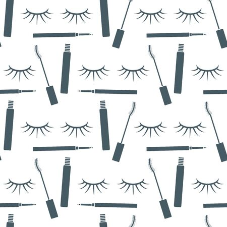 Vector seamless pattern with eyelashes, mascara, pencil. Decorative cosmetics, makeup background. Glamour fashion vogue style. Design for textile, wrapping, print.