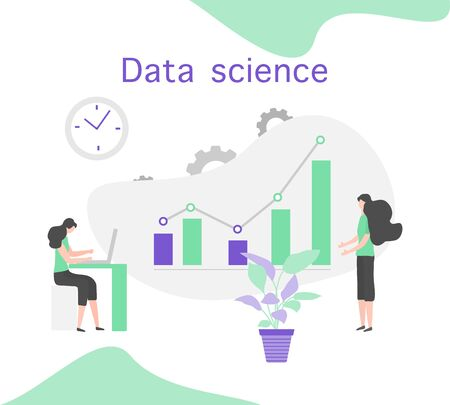 Vector illustration Data science, big data conference, big data presentation concept. People. Analysis, processing and provision of data Research, statistics, marketing, study performance indicators