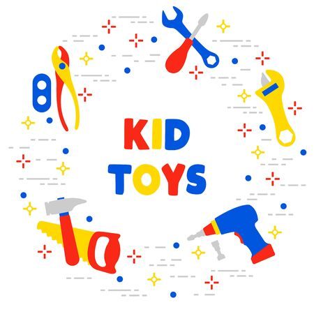 Vector illustration with kid toys. Toy tools. Saw, hammer, screwdrivers, wrenches, pliers. Primary school, elementary grade, kindergarten. Happy childhood activity. Design for textile, website, print Stock Illustratie