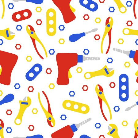 Vector seamless pattern with kid toys. Toy tools. Screwdriver, detail, drill, nut, adjustable wrench, pliers. Primary school elementary grade kindergarten. Happy childhood activity. Design for print