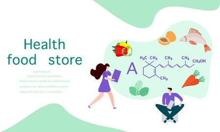 Vector illustration with people, healthy foods rich in vitamins. Healthy lifestyle, proper nutrition, diet concept. Vitamin A sources. Design for app, websites, print, presentation, landing page.