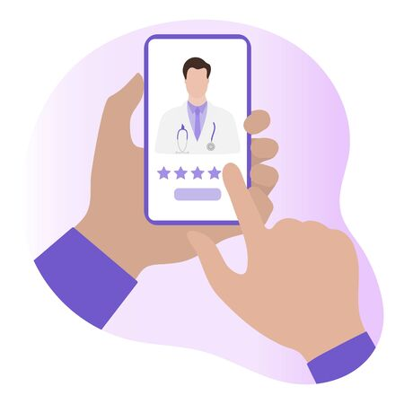 Online doctor vector illustration concept. Hand of patient using online medicine services by smartphone. Rating. Medical support supervision monitoring. Healthcare. Design for website, app, print
