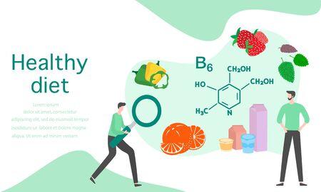 Vector illustration with people, healthy foods rich in vitamins. Healthy lifestyle, proper nutrition,  diet concept. Vitamin B6 sources. Design for app, websites, print, presentation, landing page. Foto de archivo - 134439997