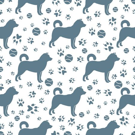 Vector seamless pattern with dog, dog paw tracks, tennis ball. Animal background. Pet shop, dog show, veterinary clinic, pet care concept. Design for textile, wrapping, print. Illusztráció