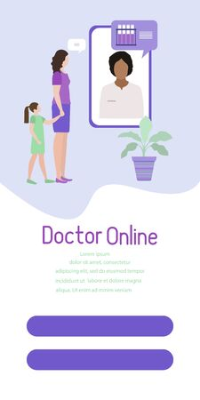 Online doctor vector illustration concept Family consults doctor Online medical support supervision monitoring services Healthcare Flat style Template of vertical banner Design for website, app, print